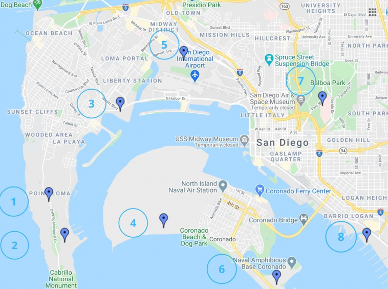 San Diego Bases Map